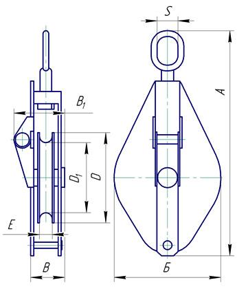 Блок однорольный монтажный со звеном - схема